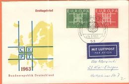GERMANIA - GERMANY - Deutschland - ALLEMAGNE - 1963 - Europamarke, Europa Cept - FDC - Par Avion - Bonn - [7] Repubblica Federale