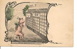 COCHON HUMANISE EN PELERIN Auberge Du Condor 69  Prostitution Humour Dos Simple - Gekleidete Tiere