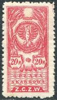 Russia Civil War 1920 Polish Occupation Ukraine Belarus Wilno 20 Kop. Revenue Fiscal Tax Stempelmarke Polen ZCZW Poland - Unclassified