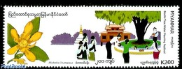 Myanmar/birma 2019 Bodhi Tree Water Pouring Festival 1v, (Mint NH), Water - Dams & Falls - Folklore - Myanmar (Birmanie 1948-...)