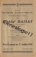 35 388 RENNES ILE ET VILAINE 1931 -  TARIF 2 Pages - Sport Athletique DAISAY Bd De Chezy FOOTBALL CYCLISME HOCKEY BOXE - 1900 – 1949