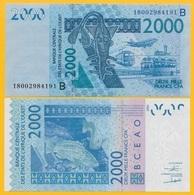 West African States 2000 Francs Benin (B) P-216B 2018 UNC Banknote - West-Afrikaanse Staten