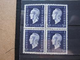 VEND BEAUX TIMBRES DE FRANCE N° 701 EN BLOC DE 4 , XX !!! (a) - 1944-45 Maríanne De Dulac