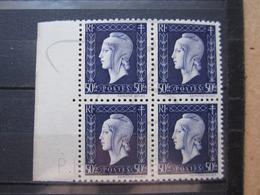 VEND BEAUX TIMBRES DE FRANCE N° 701 EN BLOC DE 4 + BDF , XX !!! - 1944-45 Maríanne De Dulac