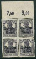 Belgien Nr. 16 B II B Za Postfrischer Viererblock Geprüft BPP - Occupation 1914-18