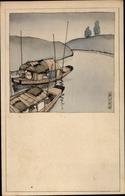 Artiste Cp Japan, Boote Auf Einem Fluss - Altri