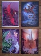 Lot De 4 Cartes Postales / DRAGONS - Animaux & Faune