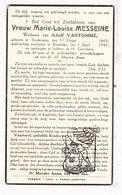 DP Marie L. Messeine ( Messeyne ) ° Koolskamp 1865 † Rumbeke Roeselare 1941 X Adolf VanTomme - Images Religieuses