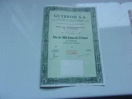 GUTBROD (titre De 1000 Actions De 25 Francs) Macon , Saone Et Loire - Actions & Titres