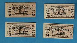 4 Anciens Tickets De Métro,métropolitain D, 2 éme Classe Non Poinçonné - Subway