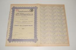Part Fondateur Agglomérés D'Ollignies 1922 Complet - Industry