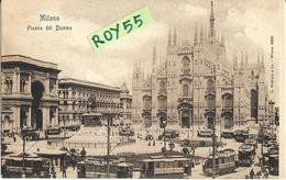 Lombardia-milano Piazza Duomo Fine 800 Capolinea Tramway Veduta Diversi Vecchi Tram Con Pubblicita' Epoca (f.piccolo) - Milano (Milan)