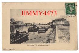 CPA - GRAY 70 Haute Saône - La Saône Au Quai Mavia - Péniches à Quai En 1912 - N° 90 - Imp-Lib. A. Bergeret à Gray - Gray