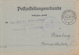 Postzustellungsurkunde Obl WEYER (UNTERELS) / A Du 23.4.43 Adressée à Strassburg - Poststempel (Briefe)