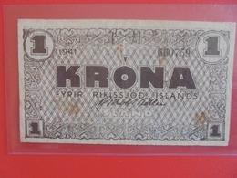 ISLANDE 1 KRONA 1941 PEU CIRCULER (B.6) - IJsland