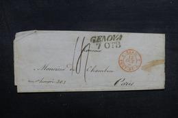 """FRANCE / ITALIE - Cachet D'entrée """" Sard. Pont-De-B. 3 """" Sur Lettre De Genova Pour Paris En 1839 - L 41912 - Entry Postmarks"""