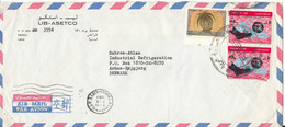 Libya Air Mail Cover Sent To Denmark Tripoli 7-10-1969 (1 Of The Stamps Is Damaged) - Libya