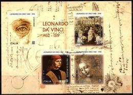 Italia 2019 Leonardo Foglietto 4 Valori Annullo 1° Giorno - 6. 1946-.. Republik