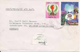 Libya Registered Cover Sent To Denmark 22-11-1986 (one Of The Stamps With A Bended Corner) - Libya