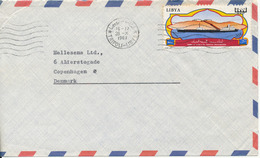 Libya Air Mail Cover Sent To Denmark Tripoli 26-10-1967 Single Franked (The Cover Is Cut In The Left Side) - Libya