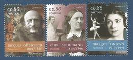 Portugal   2019  , Figuras Mundiais - Clara Schumann - Jacques Offenbach - Margot Fonteyn - Postfrisch / MNH / (**) - 1910-... Republik