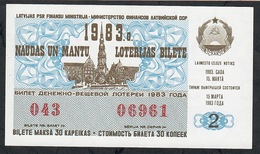 LATVIA LETTONIE 2 R. 1983 UNC. NEUF - Lottery Tickets