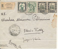 Libya Colonie Italy Registered Cover Nalut Tripolitania 7-6-1931 Sent To Yugoslavia - Libya