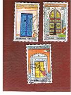 TUNISIA - SG 1165.1167  -    1988  TUNIS DOORWAYS  & FOUNTAINS  - USED ° - Tunisia (1956-...)