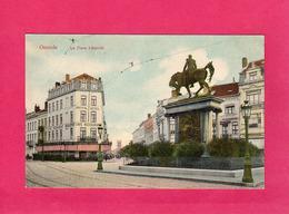 Belgique, Flandre Oc., Ostende, La Place Léopold, Colorisée, Statue, () - Oostende