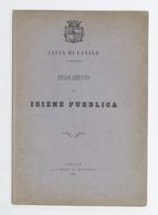 Città Di Casale - Regolamento Di Igiene Pubblica - 1881 - Libros, Revistas, Cómics