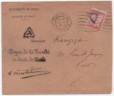 Lettre PARIS 1926 Non Affranchie Université SIMPLE TAXE 30c Banderole Duval TB! - Segnatasse