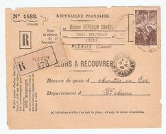 DEVANT De LETTRE Rec. REPELLIN CHAREL PLEAUX CANTAL 1938 - MONTIER En DER - VALEURS à RECOUVRER 1488 - MINEURS 390 - 1921-1960: Période Moderne