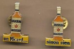 2 Pin's Un Ricard... Sinon Rien SA Ricard (Dépôt) 4-6 Rue Berthelot Marseille 13e Bouteilles - Beverages