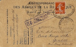 1917 -C P F M Affr. 10 C Semeuse  Oblit. Censure Française + Censure Serbe Pour La Croix Rouge à Genève - Guerra De 1914-18