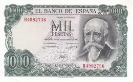 BILLETE DE 1000 PTAS DEL AÑO 1971 ECHEGARAY SERIE H SIN CIRCULAR Esquina Doblada - [ 3] 1936-1975: Regime Van Franco