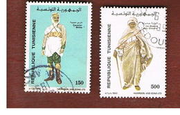 TUNISIA - SG 1193  -    1990  COSTUMES (COMPLET SET OF 2)   - USED ° - Tunisia (1956-...)