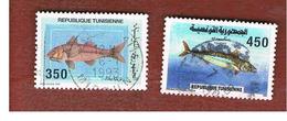 TUNISIA - SG 1209.1210  -    1991 FISHES  - USED ° - Tunisia (1956-...)