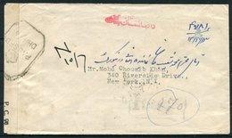 1945 Afghanistan Registered Censor Cover Kaboul - New York, USA - Afghanistan