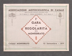 Associazione Motociclistica Di Casale 1^ Gara Di Regolarità Del Monferrato 1936 - Libros, Revistas, Cómics