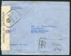 1942 Afghanistan Registered Censor Cover Kaboul - Rueti Switzerland - Afghanistan