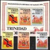 D - [829137]TB//**/Mnh-Trinité & Tobago 1977 - République, Avec Le Bloc, Drapeaux, Armoiries, SC - Stamps