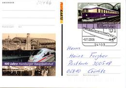 "BRD Amtl. GZS-Sonderpostkarte PSo 94 ""100 Jahre Hamburger Hauptbahnhof"" WSt ""Fliegender Hamburger"" ESSt 9.11.2006 KIEL - Postcards - Used"
