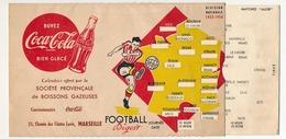 FRANCE - PUBLICITE COCA-COLA / MARSEILLE - Division Nationale (Football) 1953-1954 - Système à Tirette - Calendriers