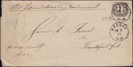 Norddeutscher Bund Dienst 4 Ziffer 1 Groschen EF Brief Einkreis NASSAU 16.2.1871 - North German Conf.