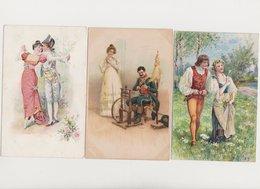 Lot De 10 Cartes Fantaisie Dessinées / Couples - Paare