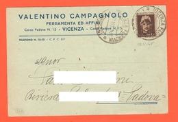 Vicenza  Campagnolo Valentino Ferramenta Sede Porta Padova Cpa 1945 - Pubblicitari