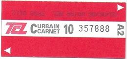 "TICKET BILLET TCL SYTRAL LYON 69 RHONE METRO TRAMWAY AUTOBUS "" C CARNET URBAIN A2 06/1996"" - Subway"