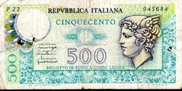 ITALIA  ITALY  500 Lire 1976  -  MERCURIO - [ 2] 1946-… : Repubblica