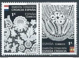 ESPAGNE SPANIEN SPAIN ESPAÑA 2015 LACES ENCAJES CONJUNTA CON WITH CROACIA SET 2V. ED 4957-58   MI 4966-67 - 2011-... Nuevos & Fijasellos