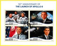 Bloc Feuillet Oblitéré De 4 T.-P. - 50th Anniversary Of The Launch Of Apollo 8 - N° 7753-7756KB (Michel) - Maldives 2018 - Maldives (1965-...)